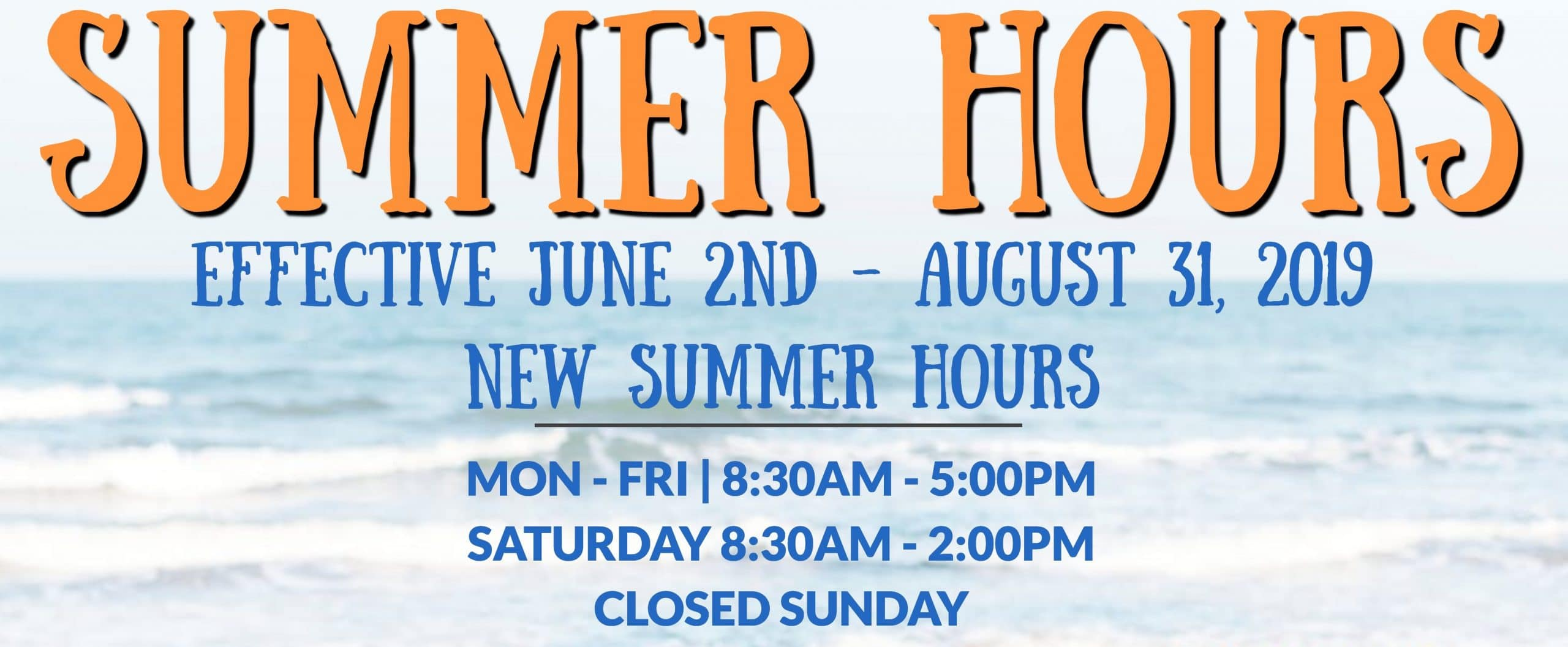 Summer 2019 Hours Marge's